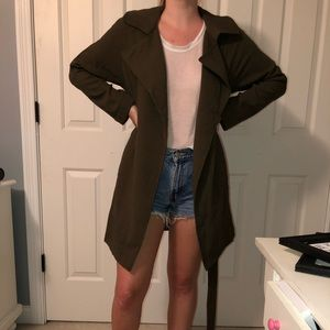 Army green trench coat.